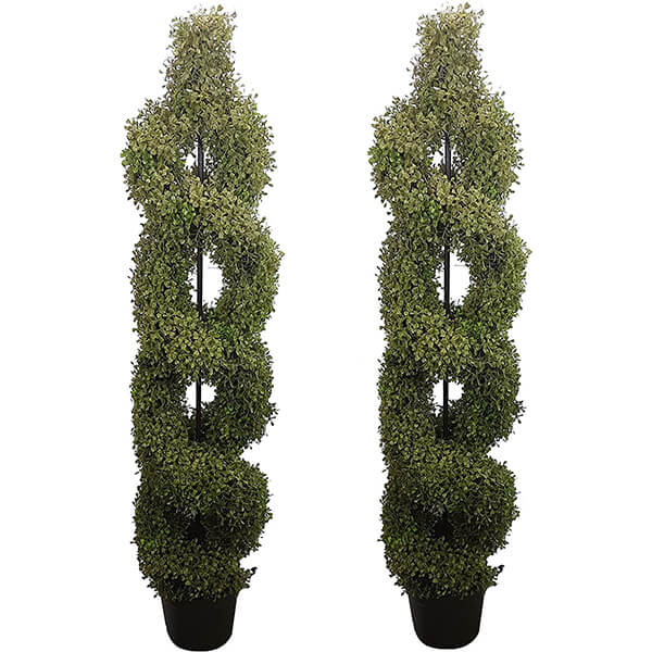 2 Pcs of Double Spiral Artificial Trees (5 ft)