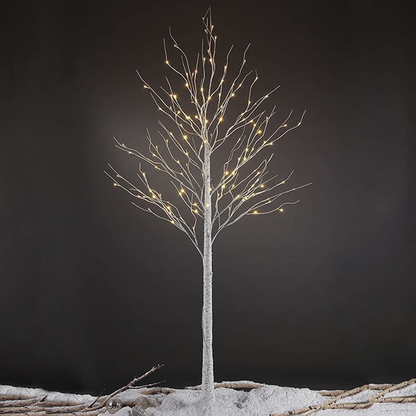 Artificial Birch Tree with 132 LED Lights (8ft)