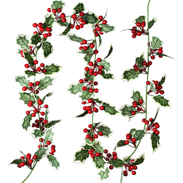 Artificial Christmas Holly Garland (5 ft. 9 in)