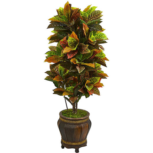 Artificial Croton Plant with Traditional Rustic Planter (5 ft. 6 in)