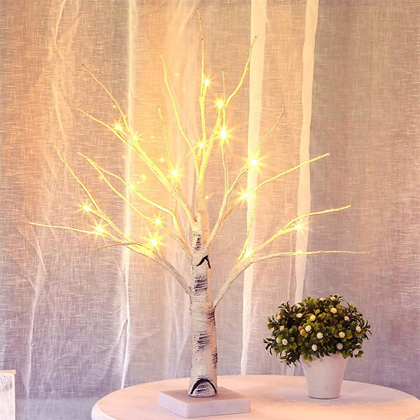 Tabletop Birch Tree with 18 LED Bulbs (1 ft. 6 in)