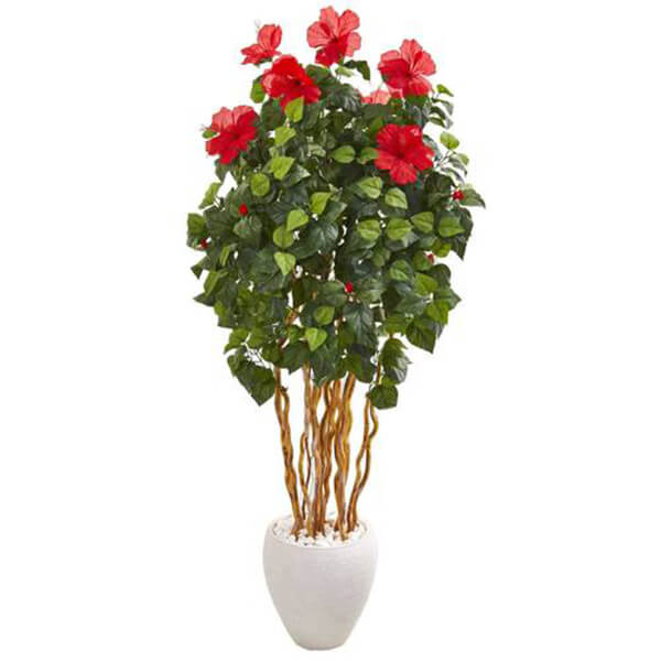 Artificial Hibiscus Tree with White Planter (5 ft. 3 in)