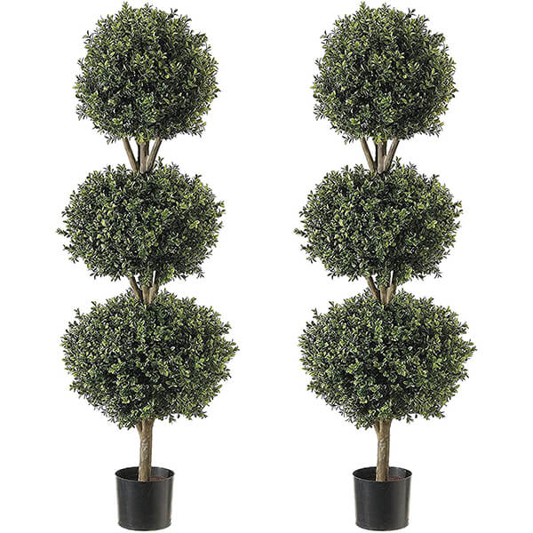 Combo UV Resistant Triple Ball Boxwood Topiary Trees (4 ft. 7 in)