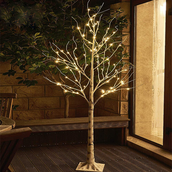 Faux Birch Tree with 88 LED Lights (6 ft)