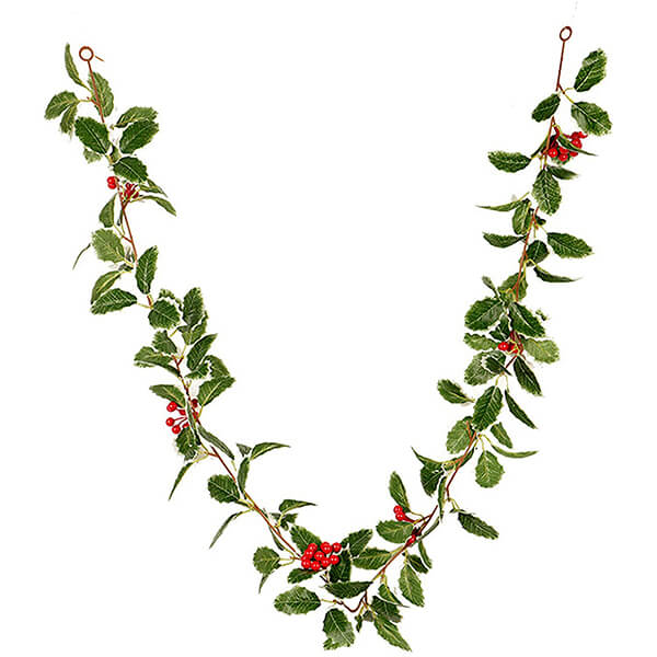 Faux Christmas Holly Garland (5 ft. 6 in)