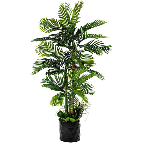 Golden Cane Palm Fake Tree with Origami Pot (6 ft. 6 in)
