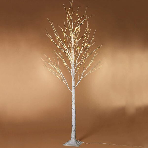 Lighted Birch Trees with 96 Warm LED Lights (6 ft)