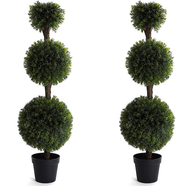 2 Pcs of UV Resistant Fake Cypress Topiary Trees (4 ft.)