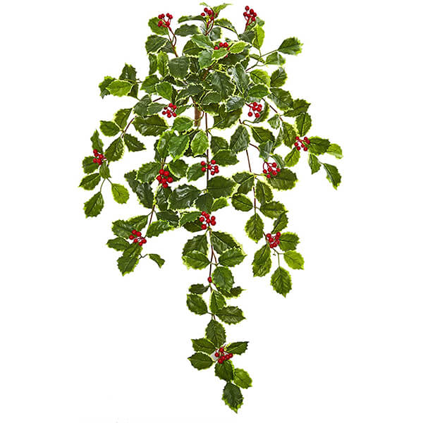 3 Pcs of Fake Holly Hanging Plants (2 ft. 3 in)