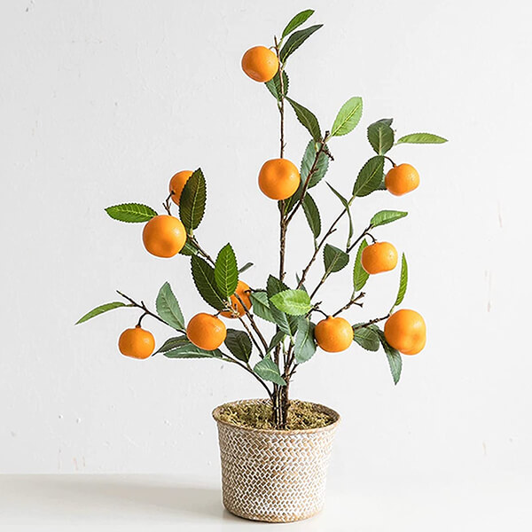 Artificial Orange Plant with Basket (2 ft. 1 in)
