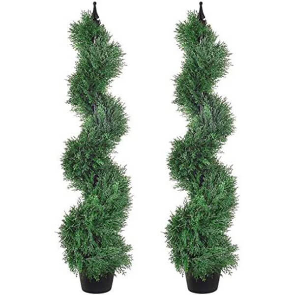 2 Pcs of UV Resistant Spiral Cypress Trees (4 ft.)