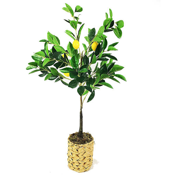 Artificial Lemon Plant with Woven Pot (2 ft. 8 in)