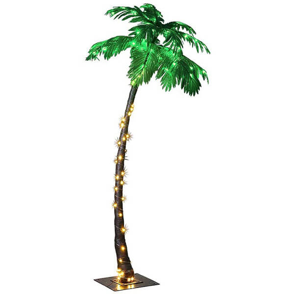 Lighted Tall Artificial Palm Tree with 96 LED lights (7 ft)