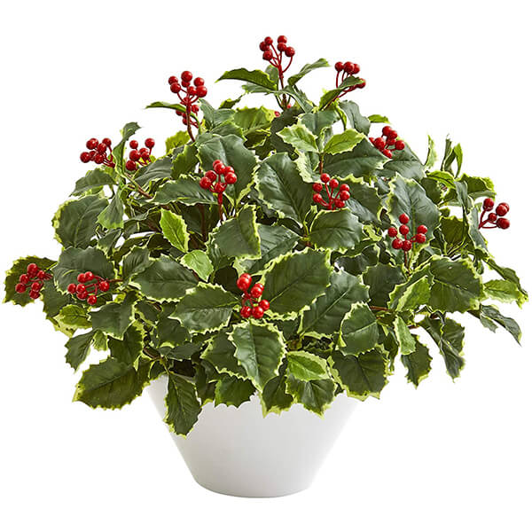 Tabletop Artificial Holly Plant (1 ft. 10 in)