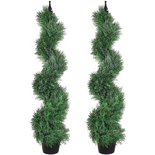 2 Pcs of Artificial Spiral Cypress Trees (4 ft.)