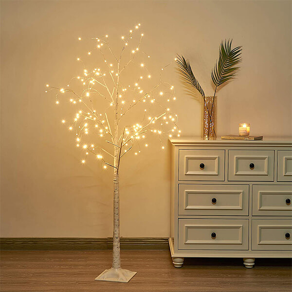Artificial Birch Tree with 168 Fairy LED Lights (5ft)
