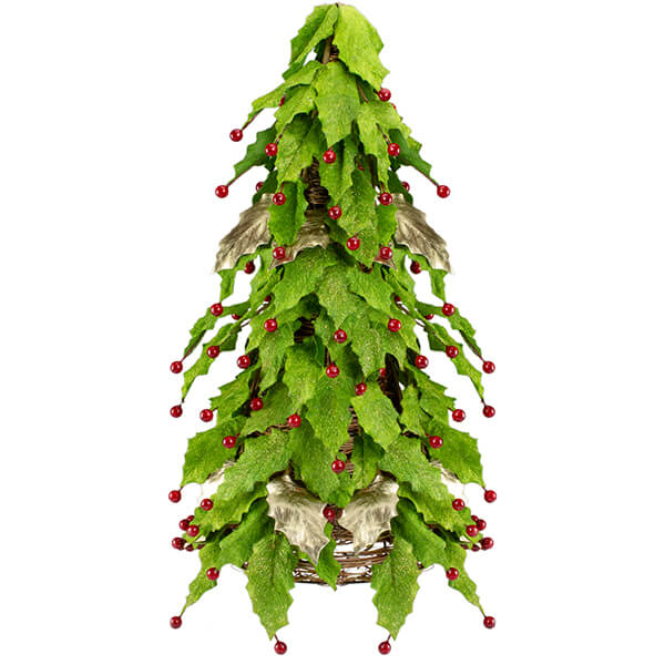 Artificial Christmas Tree Holly Berry Leaf Cone