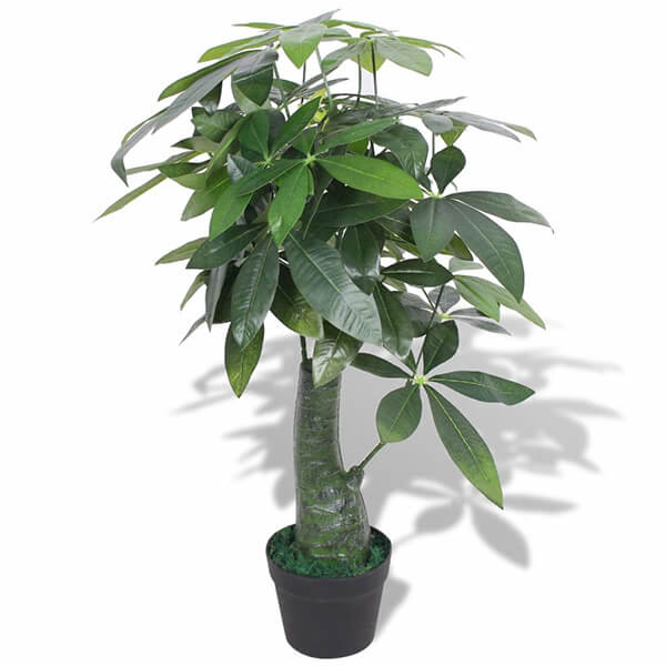 Fake Money Tree with Painted Wood Trunk (2 ft. 10 in)