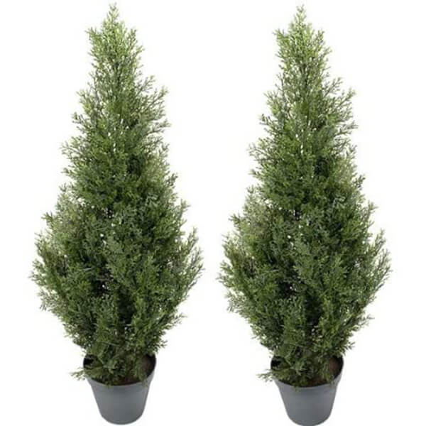 2 Pcs Combo of Pre Potted Topiary Artificial Cedar Trees (3 ft)