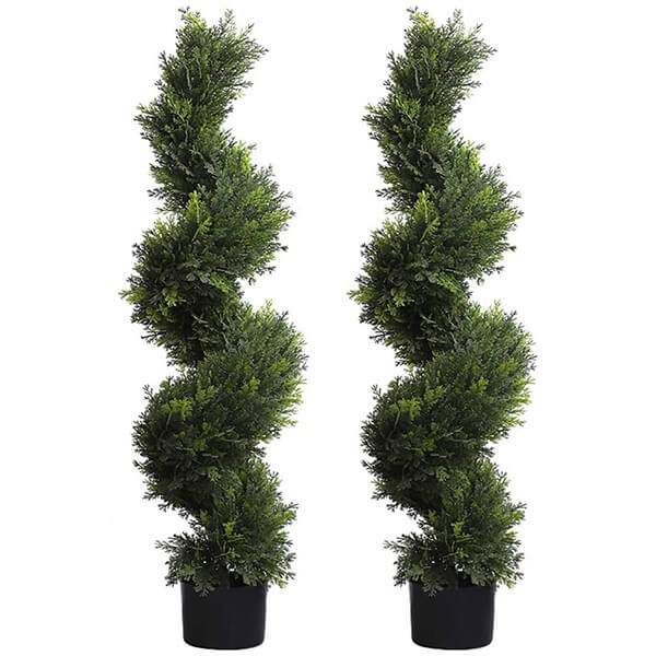 2 Pcs of Artificial Spiral Cypress Trees (3 ft. 11 in)