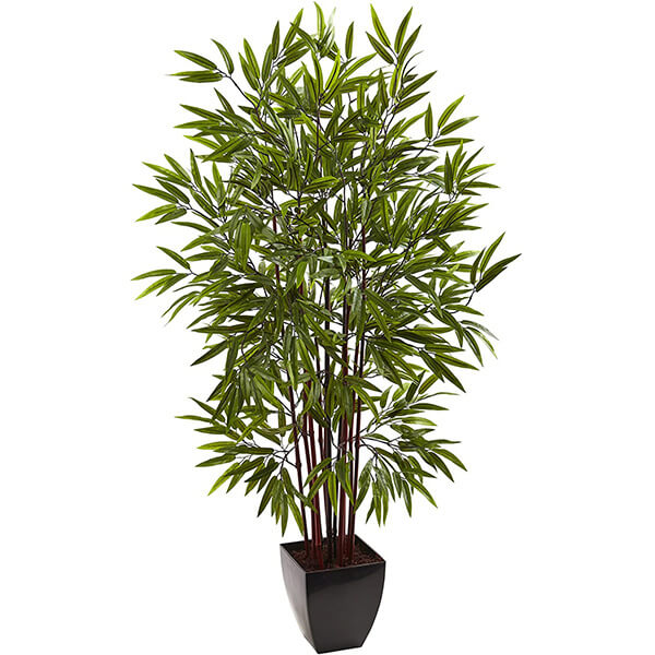 Artificial Bamboo Plant With Black Planter (5 ft.)