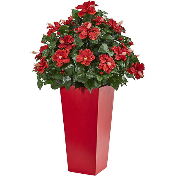 Artificial Hibiscus Plant with Red Planter (3 ft)