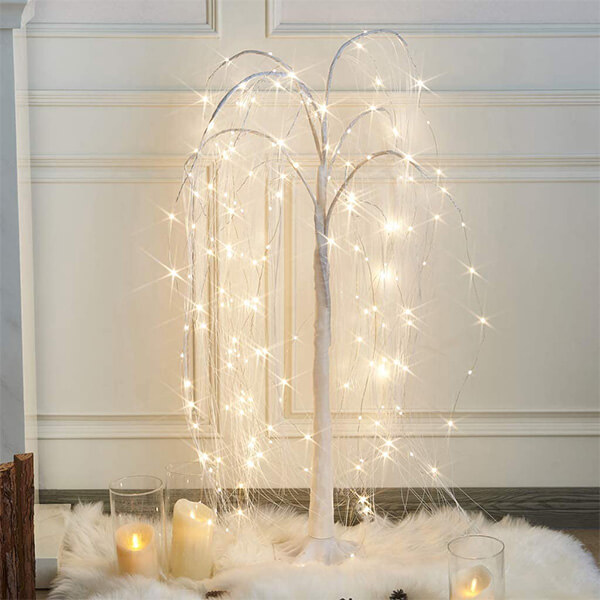 Artificial Willow Tree with 180 LED Lights (4 ft)