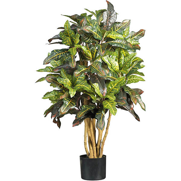 Fake Croton Plant with Wood Like Branches (3 ft.)