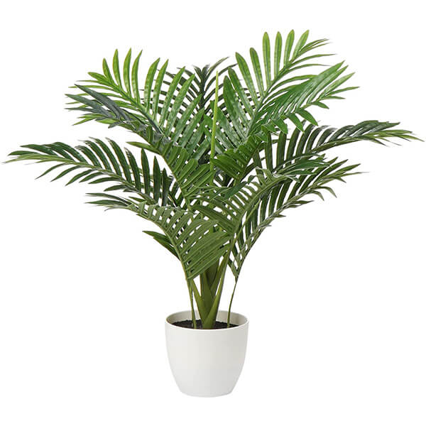Small Fake Palm Tree with a White Planter (2 ft)