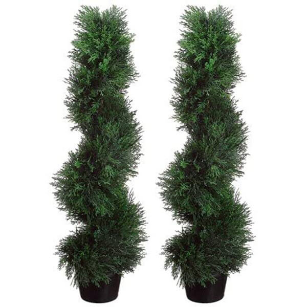 2 Pcs of Artificial Spiral Cypress Trees (3 ft)