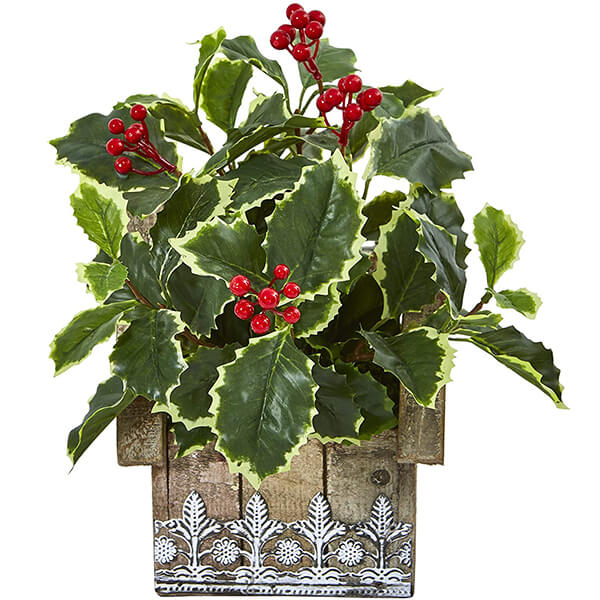 Hanging Artificial Holly Leaves with Decorative Planter (1 ft.)