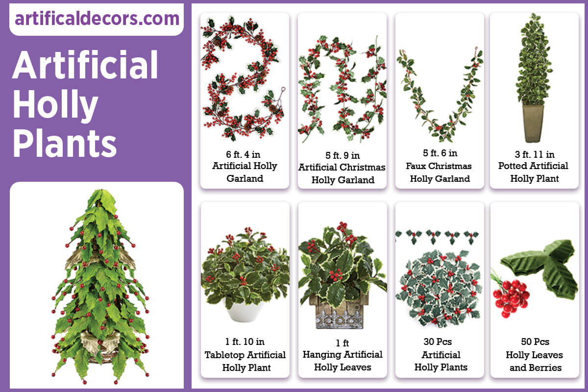 Artificial Holly Plants