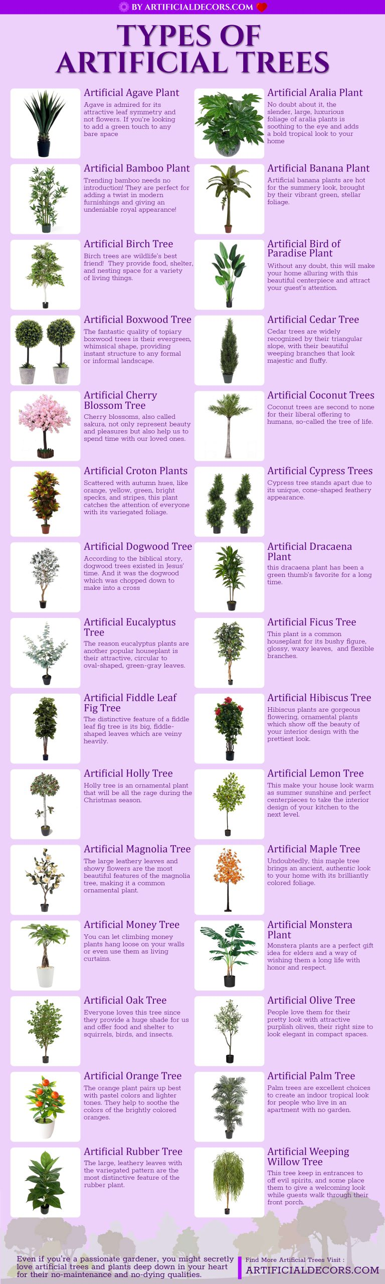 types of artificial fake trees